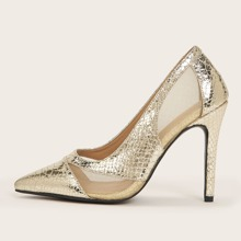 Metallic Point Toe Court Heels