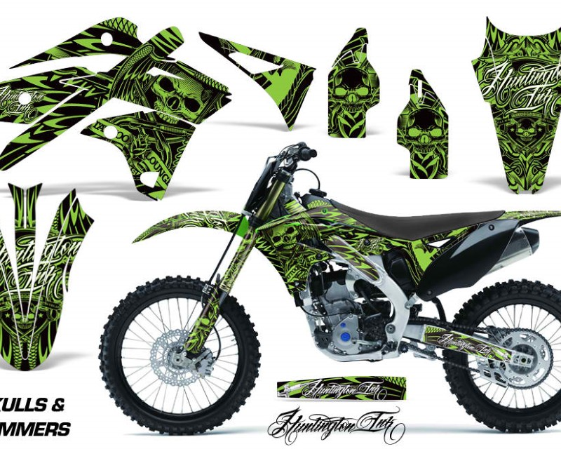 AMR Racing Dirt Bike Graphics Kit Decal Sticker Wrap For Kawasaki KXF250 2013-2016áHISH SILVER