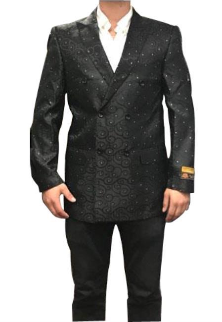 Mens Fancy Paisley Floral Black Blazer Sport Coat Jacket