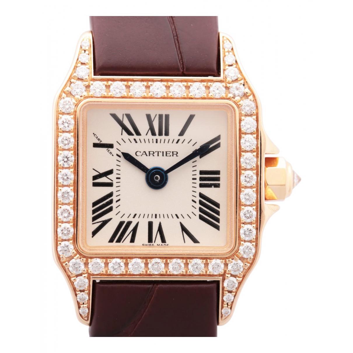 Cartier - Montre Santos Demoiselle pour femme en or rose - marron