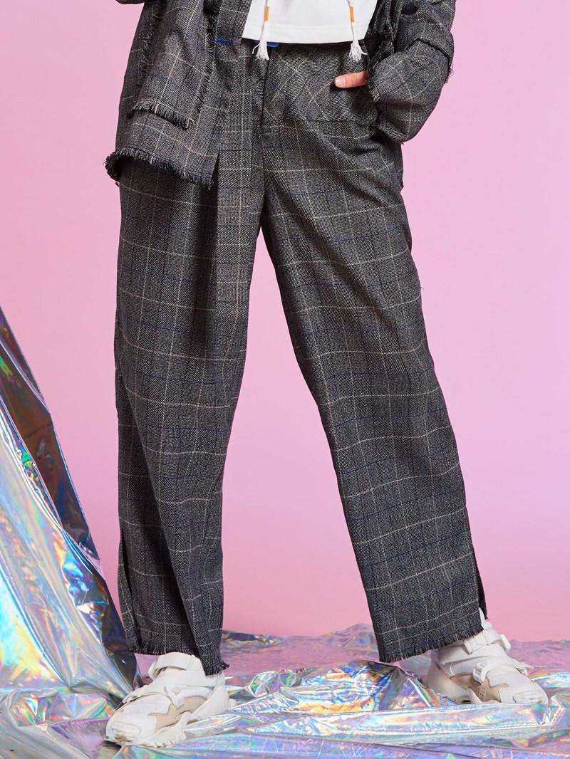 Loose Plaid Ankle Length Women's Pants