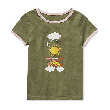 Okie Dokie Little Girls Round Neck Short Sleeve Graphic T-Shirt, 5 , Green