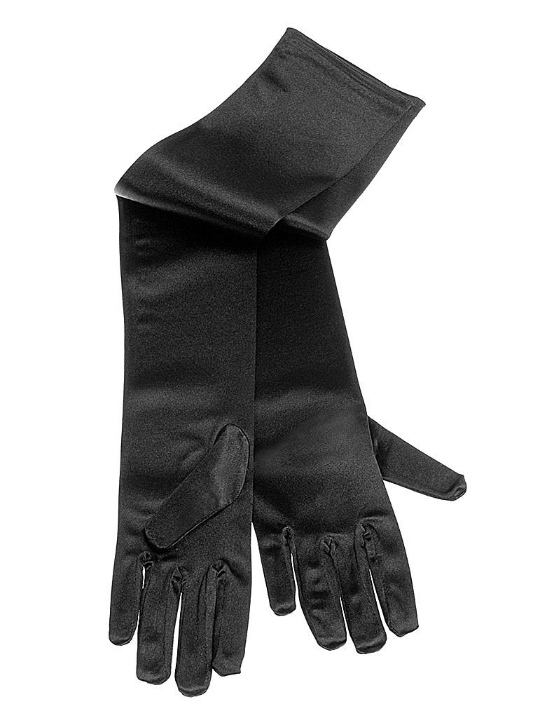 Kostuemzubehor Handschuhe superlang Satin schwarz 60cm