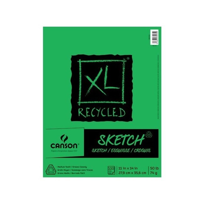 Canson / pacon papers 100510923 xl recycled sketch fold over bound 100 sheets 11x14