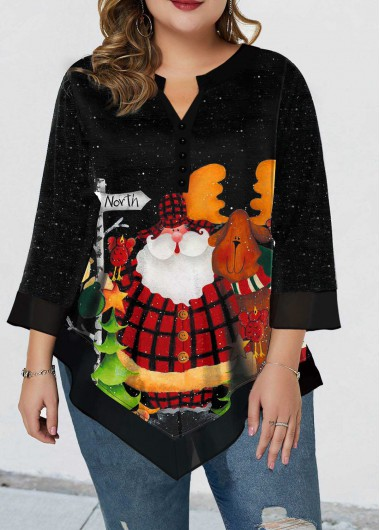 Christmas Women'S Black Split Neck Three Quarter Sleeve Plus Size Blouse Xmas Elk Print Tunic Casual Top By Rosewe - 0X