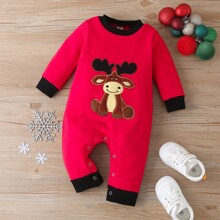 Baby Christmas Graphic Button Up Knit Jumpsuit