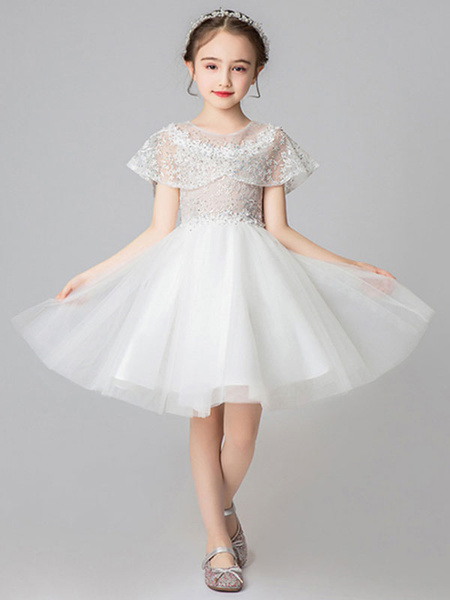 Milanoo Flower Girl Dresses Jewel Neck Sleeveless Knee Length Embroidered Kids Party Dresses With Wrap