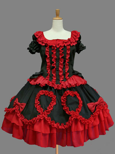 Milanoo Classic Lolita Dress OP Red Lolita Dress Cotton Short Sleeve Ruffle Bow Lolita One Piece Dress
