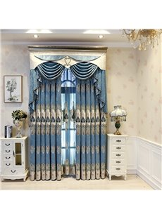 Decorative and Blackout High Quality Chenille Embroidery Luxury Grommet Curtain Panels For Living Room