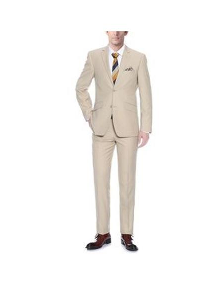 Mens Two Buttons Single breasted Slim Fit Piece Polyester Suit In Tan