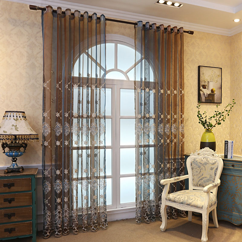 Pastoral Floral Embroidered Decoration Sheer Curtains for Living Room Custom 2 Panels Breathable Drapes No Pilling No Fading No off-lining