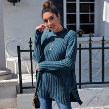 Rippenstrick Pullover mit seitlichem Schlitz