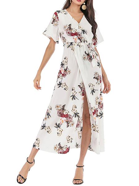Milanoo Vestidos largos con mangas cortas Vestido de gasa con escote en V blanco y gasa dividida