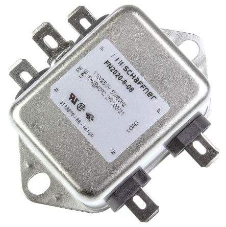 Schaffner , FN2020 6A 250 V ac 400Hz, Flange Mount RFI Filter, Tab