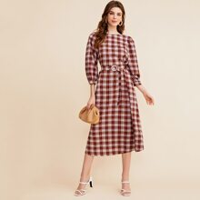 Lantern Sleeve Pearl Beaded Buckle Belted Plaid Dress