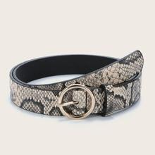 Cinturon con hebilla de piel de serpiente