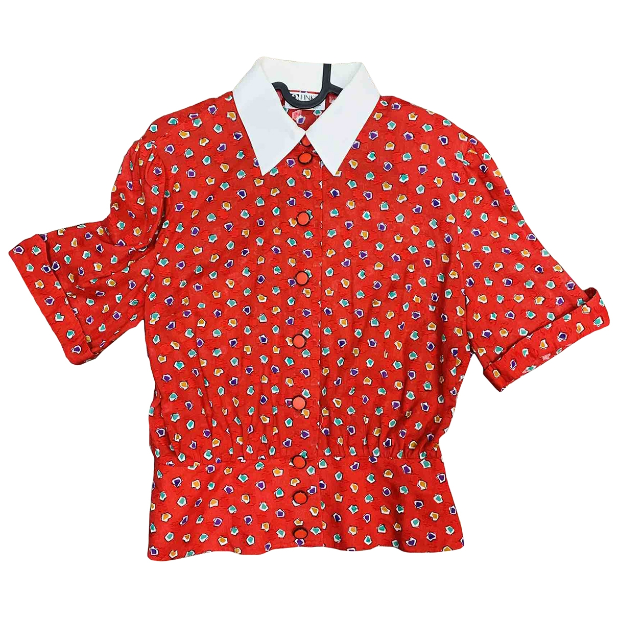 Non Signé / Unsigned Hippie Chic Red Cotton  top for Women 14 UK