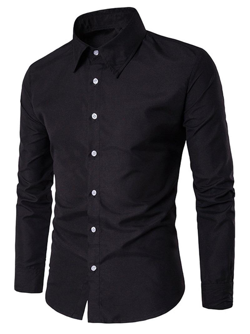 Ericdress Mens Plain Slim Fit Business Dress Shirts