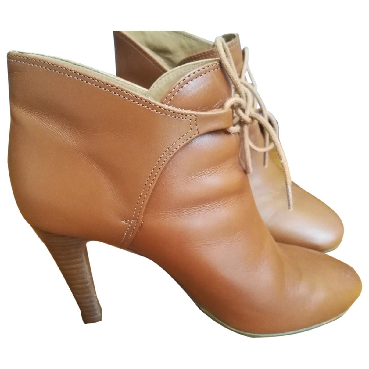 Sézane \N Camel Leather Ankle boots for Women 37 EU