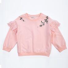 Sweatshirt mit Kontrast, Ruesche und Stickereien