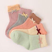 5pairs Toddler Girls Bow Knot Decor Socks