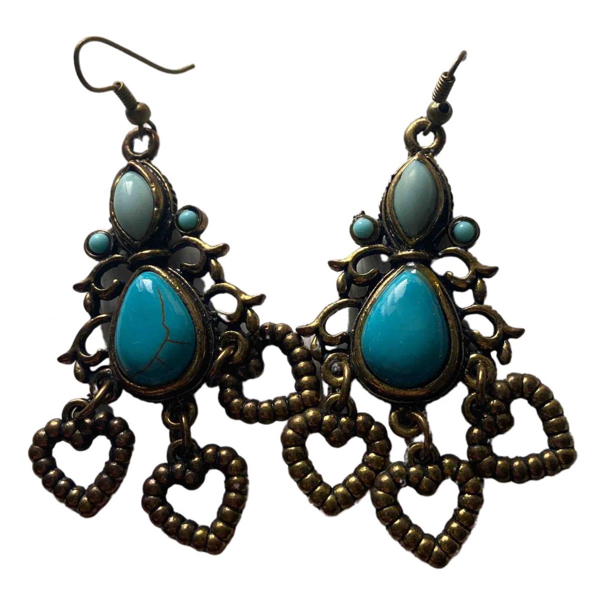 - Pendentif Motifs Coeurs pour femme en metal - turquoise