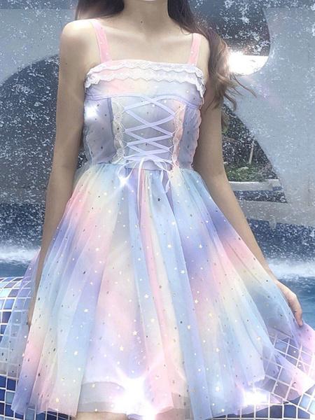 Milanoo Sweet Lolita JSK Dress Stepping On The Rainbow Stars Print Bows Sequins Light Sky Blue Lolita Jumper Skirts