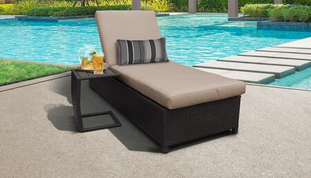 Barbados Collection BARBADOS-W-1x-ST-WHEAT Patio Set with 1 Chaise with Wheels  1 Side Table - 2 Sets of Wheat