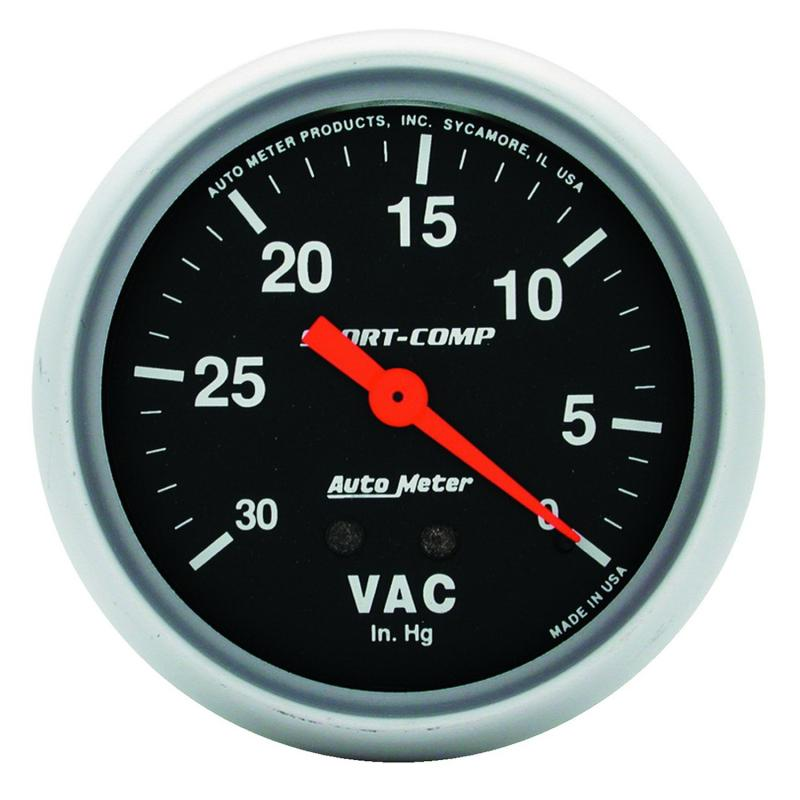 AutoMeter GAUGE; VACUUM; 2 5/8in.; 30INHG; MECHANICAL; SPORT-COMP