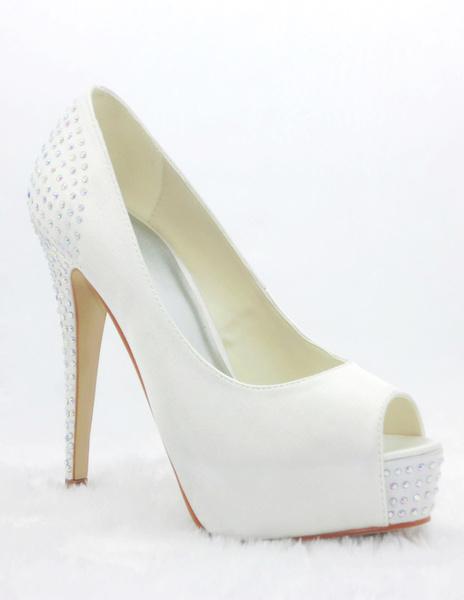 Milanoo Zapatos de novia de saten Zapatos de Fiesta blanco  Zapatos de punter Peep Toe Zapatos de boda 13cm con pedreria 3cm