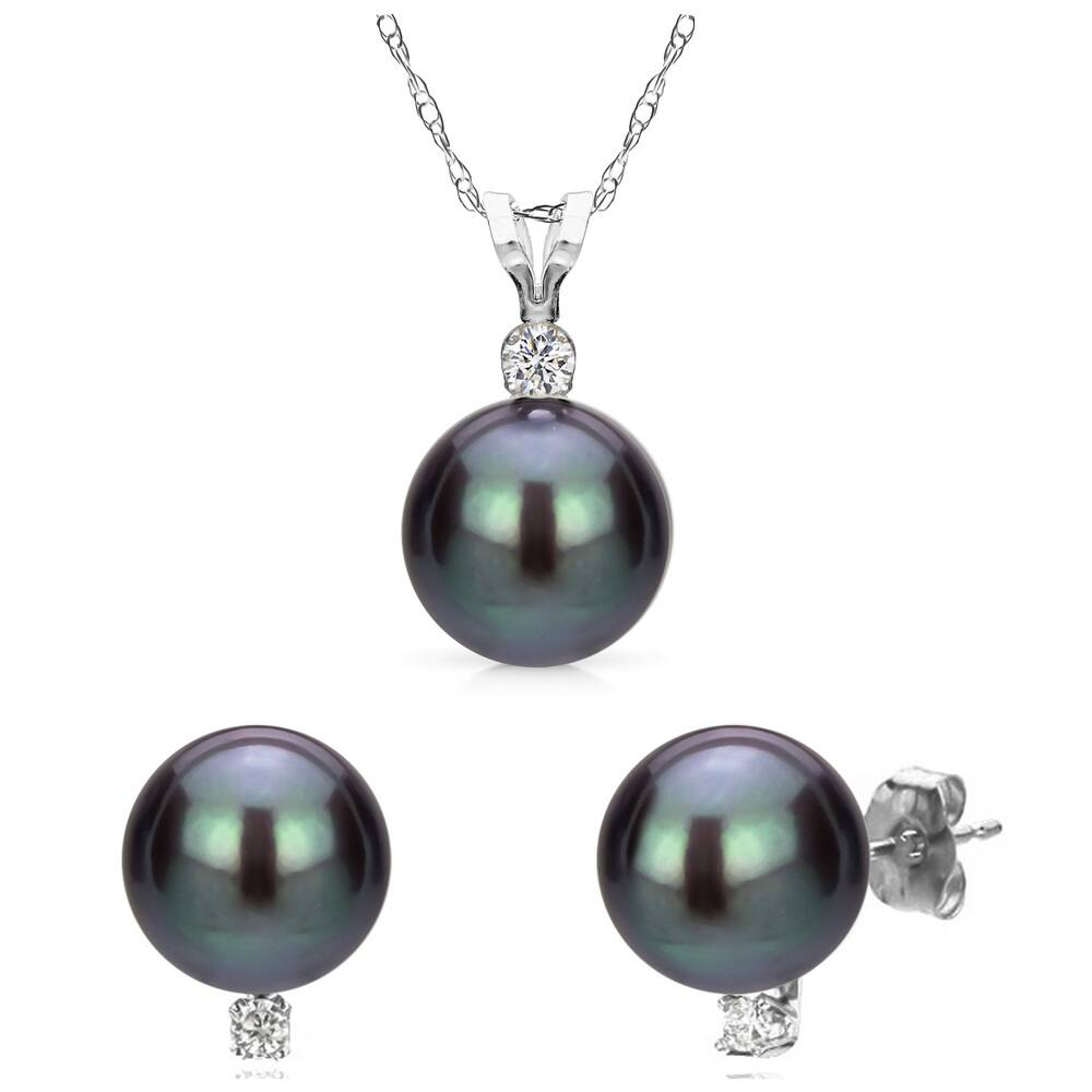 DaVonna 14k White Gold Black Freshwater Cultured Pearl and .09 CTTW Diamond Stud Earrings Chain Pendant Necklace Jewelry Set 18