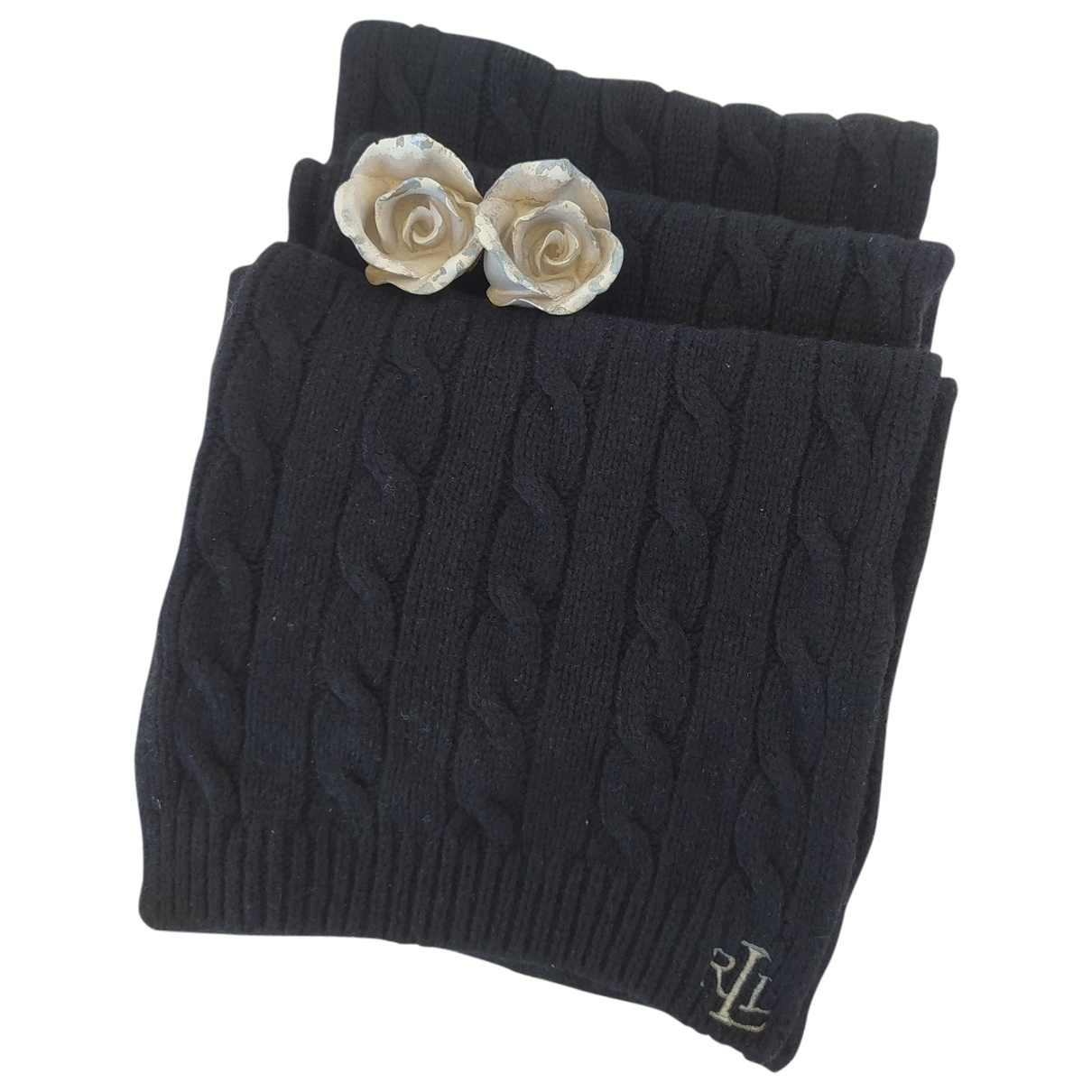 Ralph Lauren \N Schal in  Schwarz Wolle