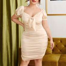 Plus Satin Sweetheart Tie Front Ruched Bodycon Dress