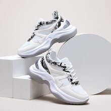 Lace-up Front Snakeskin Chunky Sneakers