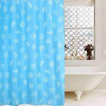 Shell Print Shower Curtain With 12pcs Hook