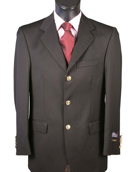 Men's 3 Button Single Black Blazer 100% Wool Classic Fit Blazer