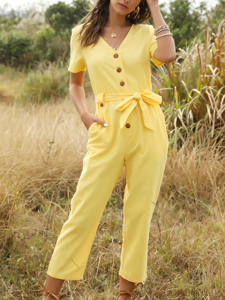 Milanoo Yellow Short Sleeves Buttons Polyester Tapered Fit Summer One Piece Outfit