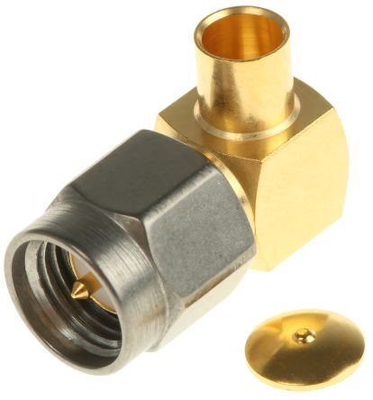 Radiall Right Angle 50Ω Cable Mount Coaxial Connector, Plug, Gold, Solder Termination, RG402