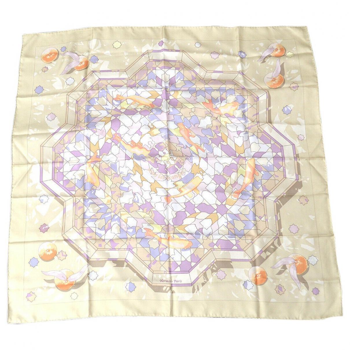 Hermes - Carre Carre 90 pour femme en soie - beige
