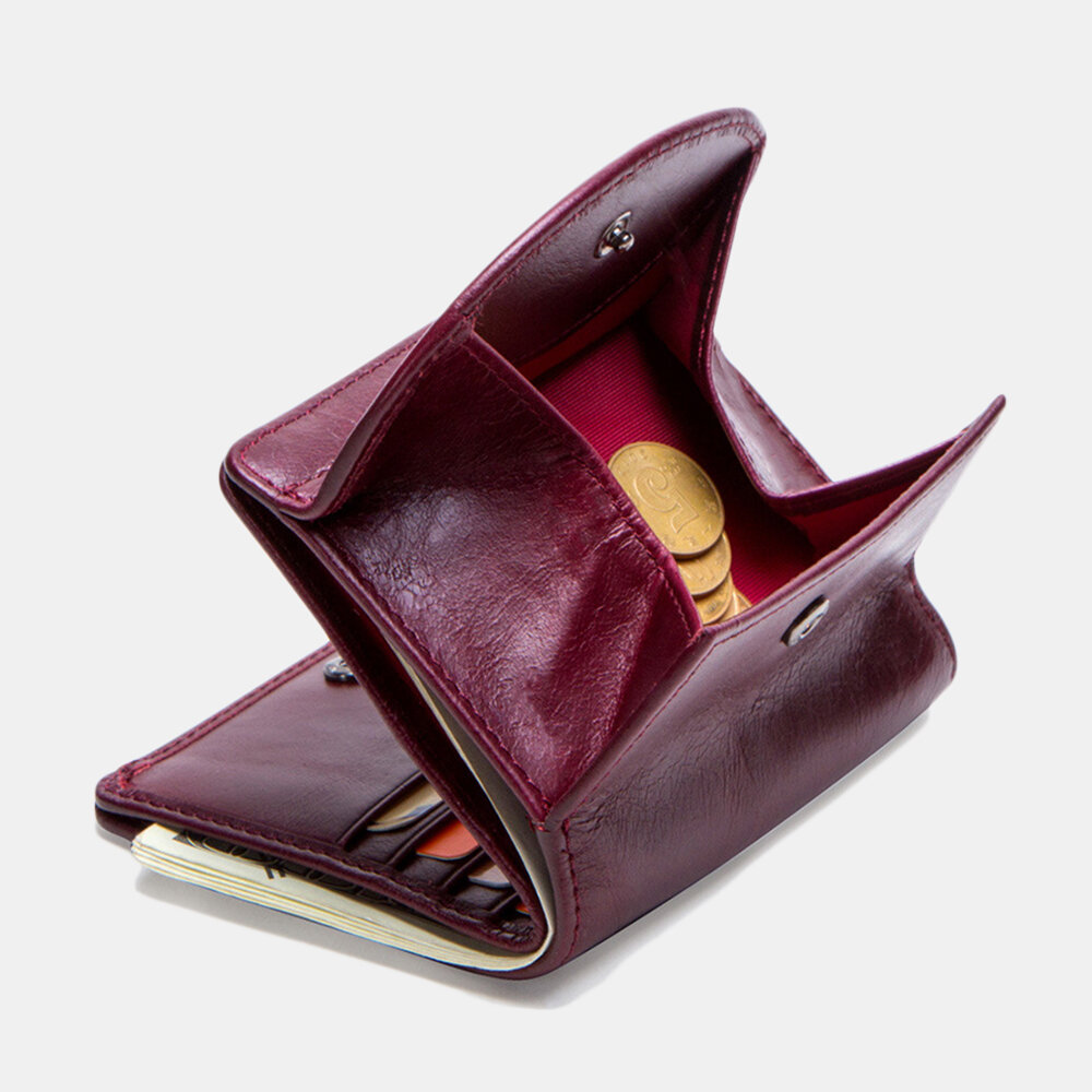 Women 8 Card Slots Genuine Leather Coin Purse Wallet