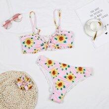 Bikini Badeanzug mit Sonnenblumen Muster und Rueschen & Scrunchie