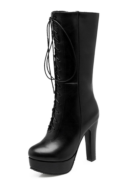 Milanoo Lace Up Boots Women Mid Calf Boots Round Toe Platform High Heel Boots