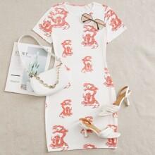 Dragon Print Bodycon Dress