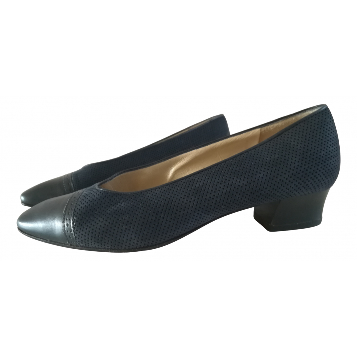Bally N Navy Leather Heels for Women 37 EU