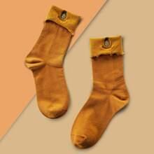 Pineapple Embroidery Cuffed Socks