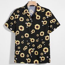 Camisa con estampado floral de margarita con girasol