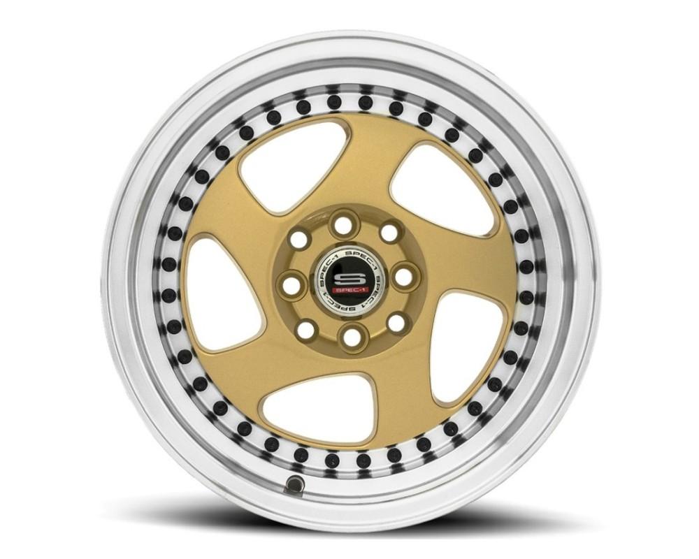 Spec-1 SPT-20 Wheel Trak Series 15x8 4x100|4x114.3 20mm Gold w/ Machined Lip & Black Rivets