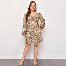 Vestidos Tallas Grandes Cut-out Efecto De Serpiente Glamour