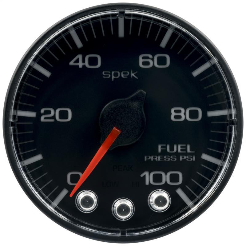AutoMeter GAUGE; FUEL PRESS; 2 1/16in.; 100PSI; STPR MTR W/PK/WRN; BK/BK; SPEK; NO O-RING