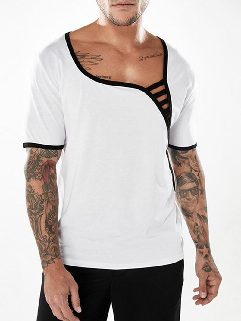 Ericdress Plain Unique Designed Mens T Shirts